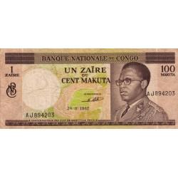 Congo (Kinshasa) - Pick 12a - 1 zaïre ou 100 makuta - Série AJ - 24/11/1967 - Etat : TB-