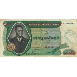 Congo (Kinshasa) - Pick 14 - 5 zaïres - 24/11/1971 - Etat : TB-