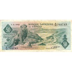 Congo (Kinshasa) - Pick 5 - 50 francs - 01/02/1962 - Etat : TB+