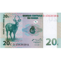 Rép. Démocr. du Congo - Pick 83 - 20 centimes - Série D K- 01/11/1997 - Etat : NEUF