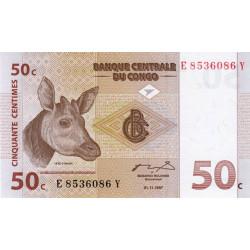 Rép. Démocr. du Congo - Pick 84A - 50 centimes - Série E Y - 01/11/1997 - Etat : NEUF