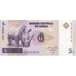 Rép. Démocr. du Congo - Pick 86 - 5 francs - Série G B - 01/11/1997 - Etat : NEUF