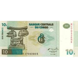 Rép. Démocr. du Congo - Pick 87B - 10 francs - Série H K - 01/11/1997 - Etat : NEUF