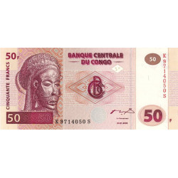 Rép. Démocr. du Congo - Pick 91A - 50 francs - Série K S - 04/01/2000 - Etat : NEUF