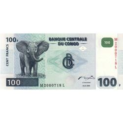 Rép. Démocr. du Congo - Pick 92A - 100 francs - Série M L - 04/01/2000 - Etat : NEUF