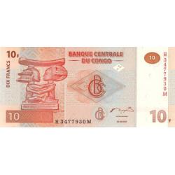 Rép. Démocr. du Congo - Pick 93 - 10 francs - Série H M - 30/06/2003 - Etat : NEUF