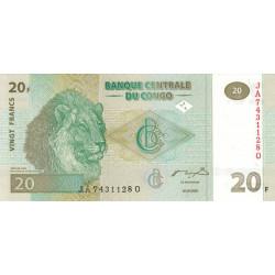 Rép. Démocr. du Congo - Pick 94 - 20 francs - Série JA Q - 30/06/2003 - Etat : NEUF
