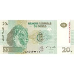 Rép. Démocr. du Congo - Pick 94A - 20 francs - Série JA S - 30/06/2003 - Etat : NEUF
