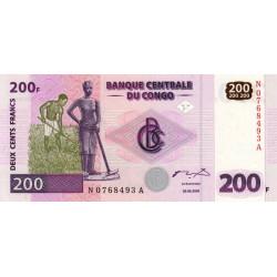 Rép. Démocr. du Congo - Pick 95 - 200 francs - Série N A - 30/062000 - Etat : NEUF