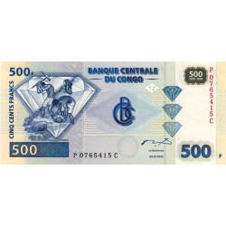 Rép. Démocr. du Congo - Pick 96 - 500 francs - Série P C - 04/01/2002 - Etat : NEUF