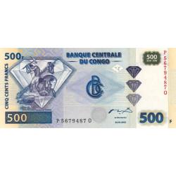 Rép. Démocr. du Congo - Pick 96B - 500 francs - Série P Q - 04/01/2002 - Etat : NEUF