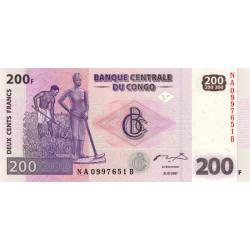 Rép. Démocr. du Congo - Pick 99 - 200 francs - Série NA B - 31/07/2007 - Etat : NEUF
