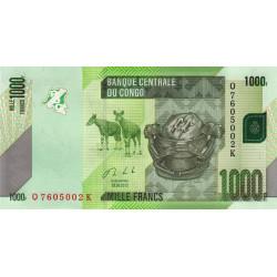 Rép. Démocr. du Congo - Pick 101b - 1'000 francs - Série Q K - 30/06/2013 - Etat : NEUF