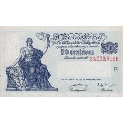 Argentine - Pick 256 - 50 centavos - Série E - 1947 - Etat : SPL