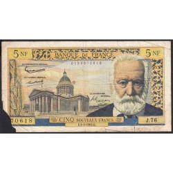 F 56-10 - 01/02/1962 - 5 nouv. francs - Victor Hugo - Série J.76 - Etat : AB