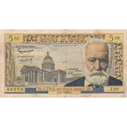 F 56-12 - 05/07/1962 - 5 nouv. francs - Victor Hugo - Série J.90 - Etat : TB-
