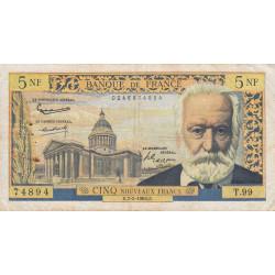 F 56-13 - 07/02/1963 - 5 nouv. francs - Victor Hugo - Etat : TB