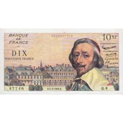 F 57-01 - 05/03/1959 - 10 nouv. francs - Richelieu - Série Q.8 - Etat : TTB+