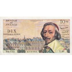 F 57-03 - 15/10/1959 - 10 nouv. francs - Richelieu - Série T.40 - Etat : SUP