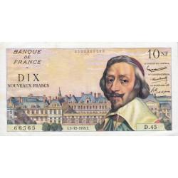 F 57-04 - 03/12/1959 - 10 nouv. francs - Richelieu - Série D.45 - Etat : SUP