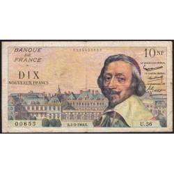 F 57-05 - 04/02/1960 - 10 nouv. francs - Richelieu - Série U.56 - Etat : TB-