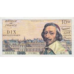 F 57-06 - 07/04/1960 - 10 nouv. francs - Richelieu - Série Q.61 - Etat : TTB à TTB+