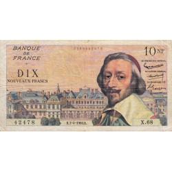 F 57-06 - 07/04/1960 - 10 nouv. francs - Richelieu - Série X.68 - Etat : TB