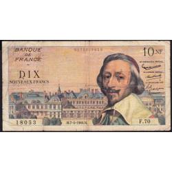 F 57-06 - 07/04/1960 - 10 nouv. francs - Richelieu - Série F.70 - Etat : TB-