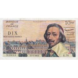 F 57-07 - 05/05/1960 - 10 nouv. francs - Richelieu - Série U.78 - Etat : TB+ à TTB-