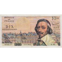 F 57-08 - 02/06/1960 - 10 nouv. francs - Richelieu - Série A.86 - Etat : TTB
