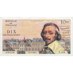 F 57-08 - 02/06/1960 - 10 nouv. francs - Richelieu - Série Y.104 - Etat : TTB à TTB+