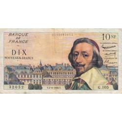 F 57-08 - 02/06/1960 - 10 nouv. francs - Richelieu - Série G.105 - Etat : TB+