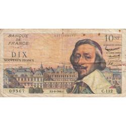 F 57-09 - 04/08/1960 - 10 nouv. francs - Richelieu - Série C.112 - Etat : TB-