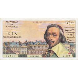 F 57-10 - 01/09/1960 - 10 nouv. francs - Richelieu - Série G.119 - Etat : TTB+