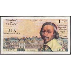 F 57-10 - 01/09/1960 - 10 nouv. francs - Richelieu - Série Y.123 - Etat : TTB-
