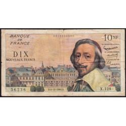 F 57-11 - 04/11/1960 - 10 nouv. francs - Richelieu - Série X.128 - Etat : TB