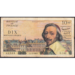 F 57-12 - 01/12/1960 - 10 nouv. francs - Richelieu - Série U.142 - Etat : TB