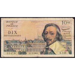 F 57-12 - 01/12/1960 - 10 nouv. francs - Richelieu - Série X.146 - Etat : B+