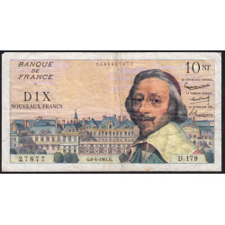 F 57-15 - 06/04/1961 - 10 nouv. francs - Richelieu - Série D.179 - Etat : TB+