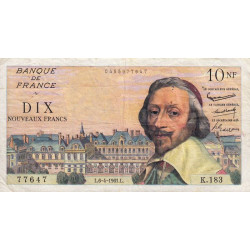 F 57-15 - 06/04/1961 - 10 nouv. francs - Richelieu - Série K.183 - Etat : TTB