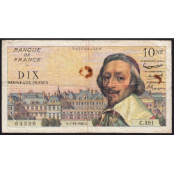 F 57-16 - 07/12/1961 - 10 nouv. francs - Richelieu - Etat : TB
