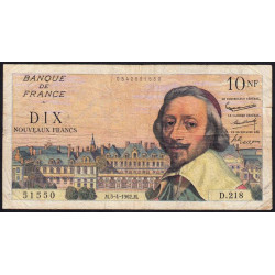 F 57-18 - 05/04/1962 - 10 nouv. francs - Richelieu - Etat : TB-
