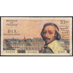 F 57-18 - 05/04/1962 - 10 nouv. francs - Richelieu - Série D.218 - Etat : TB-