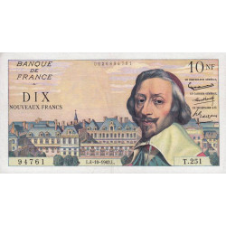 F 57-21 - 04/10/1962 - 10 nouv. francs - Richelieu - Série T.251 - Etat : TTB à TTB+