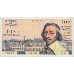 F 57-22 - 04/01/1963 - 10 nouv. francs - Richelieu - Série B.253 - Etat : TTB-