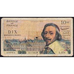 F 57-22 - 04/01/1963 - 10 nouv. francs - Richelieu - Série L.254 - Etat : B-