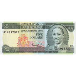 Barbade - Pick 37 - 5 dollars - 1986 - Etat : NEUF