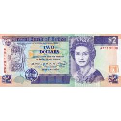Belize - Pick 52a - 2 dollars - 1990 - Etat : NEUF