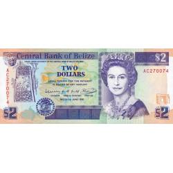 Belize - Pick 52b - 2 dollars - 1991 - Etat : NEUF