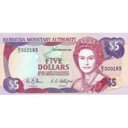 Bermudes - Pick 35b - 5 dollars - 20/02/1989 - Série B/2 - Etat : NEUF